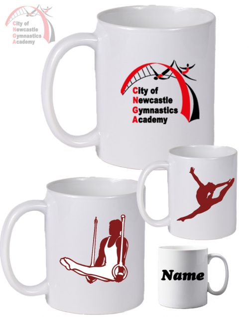 Newcastle Gymnastics White Mugs